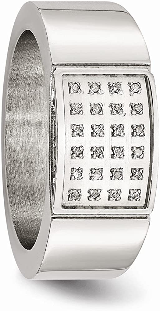 Bridal Wedding Bands Decorative Bands Stainless Steel Polished Diamond Ring Size 8.5