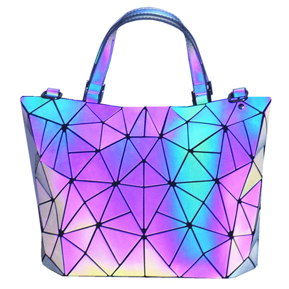 HotOne Geometric Purse Holographic Purse and Handbag Color Changes Luminous Purse for Women (M Purse Only) by Obvie