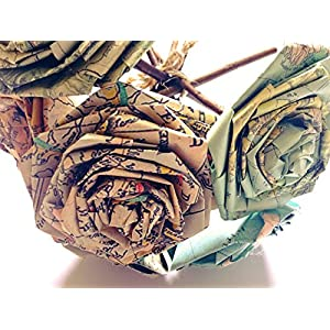 Vintage Map Paper Rose Bouquet Vintage Home Decor Artificial Flora Flowers Gift for Her Him Travel Themed Destination Wedding Paper Flower Bouquets Handmade (Bunch of 5-6) 3