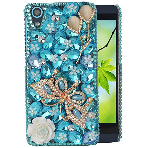 Spritech(TM) Bling Clear Phone For HTC Desire 626,3D Handmade Blue Crystal Gold Buttefly White Flower Accessary Design Cellphone - Pearl Blue Meridian