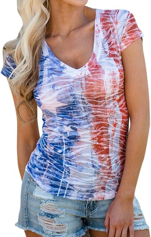 riou Camisetas Sin Tirantes Mujer Básica Tops Manga Corta con Estampado de Bandera Estadounidense T Shirt Verano Elegante Moda Blusa Casual Tank Tops