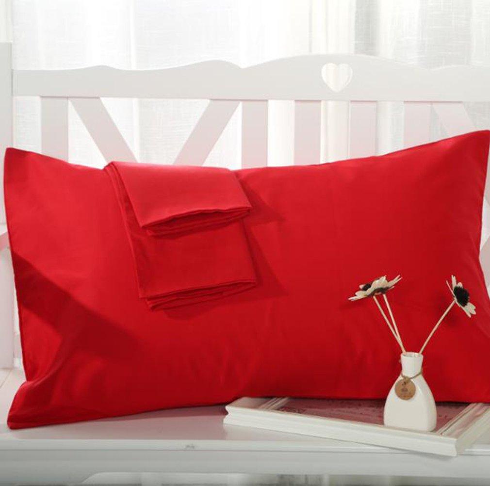2PCS Solid Color Cotton Pillowcase Envelope Closure Rectangle Pillow Covers for Home Bedroom Decor (Black) Diconna