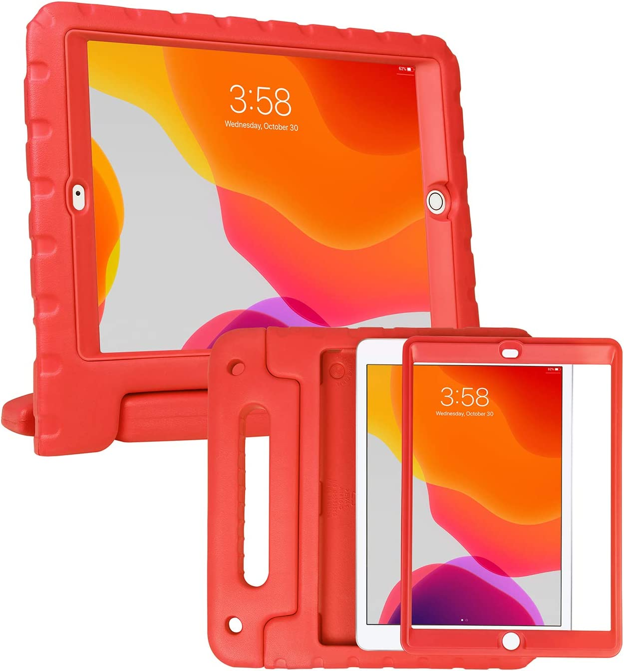 HDE iPad 7th Generation Case for Kids with Built-in Screen Protector – iPad 10.2 inch 2019 Case for Kids Shock Proof Protective Heavy Duty Cover with Handle Stand for 2019 Apple iPad 10.2 - Red