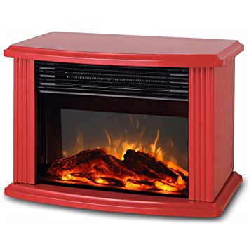 Donyer Power Mini Electric Fireplace Tabletop Fireplace Heater, Red Metal  Frame