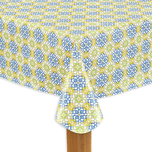 (Lintex Linens Mosaic Flannel Backed Heavyweight Indoor Outdoor Vinyl Table Linens, Tablecloth 52-Inch by 70-Inch Oblong (Rectangle))