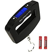 HANWELL 50kg/110lb Digital Luggage Scale with 4 Units (Kg/g/lb/oz), Electronic Travel Hanging Scales with Backlit Display/Tare/Data Hold Function - Portable for Handheld Suitcase
