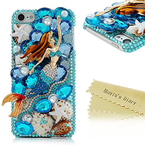 Touch 6 Case - Mavis's Diary 3D Handmade Bling Crystal Lovely Mermaid with Blue Shiny Sparkle Glitter Diamonds Rhinestone and Colorful Shell Starfish Clear Hard Cover for IPod Touch 6th (Ipod Touch Metal)