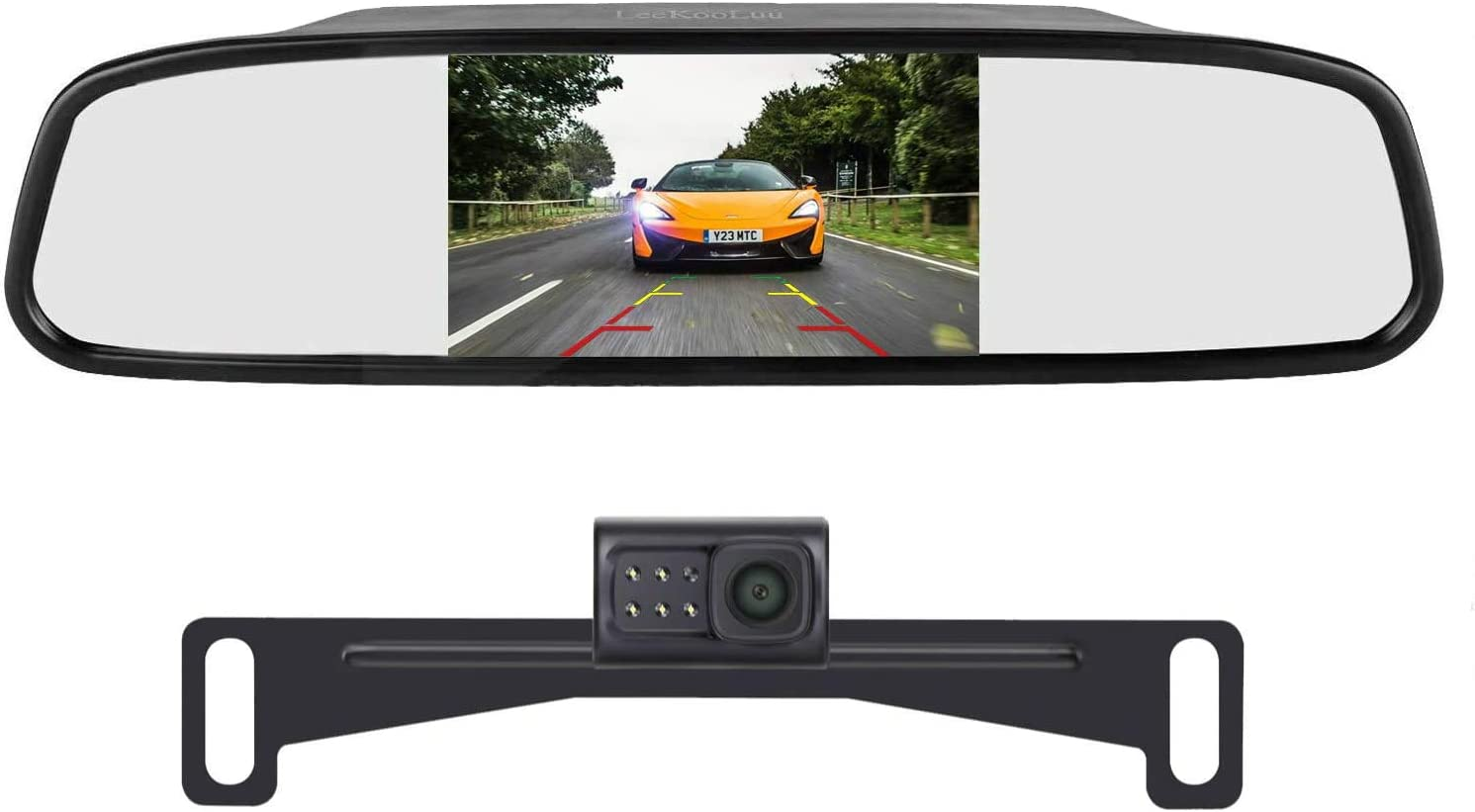 LeeKooLuu HD 720P Backup Camera and 4.3 Mirror Monitor Kit for Cars Vans Trucks Single Power Rear View System Driving Reversing Use IP69 Waterproof Night Vision