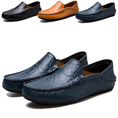 005a75d0378 Smart Casual Shoes for Men Loafers Slip on Shoes Mens Leather Driving Shoes  Black Blue Brown