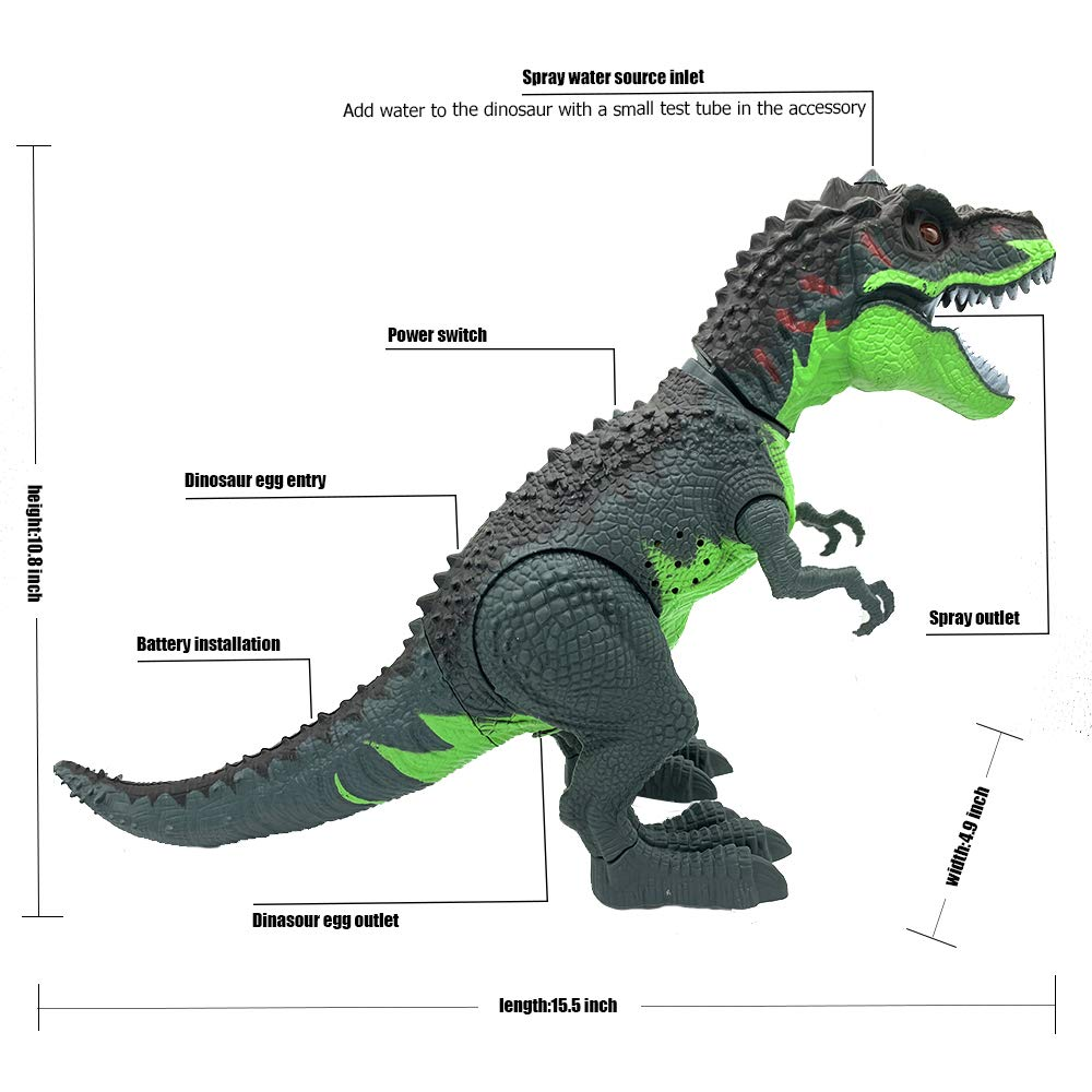 SEOINS T-Rex Walking Dinosaur Toy with Spray Water Mist,Realistic Roar and Ligh,Dinosaur Toy for Kids(Green) by SEOINS (Image #2)