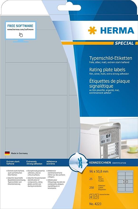 Herma 4223 Typenschild Etiketten silber wetterfest /(96 x 50,8 mm ...