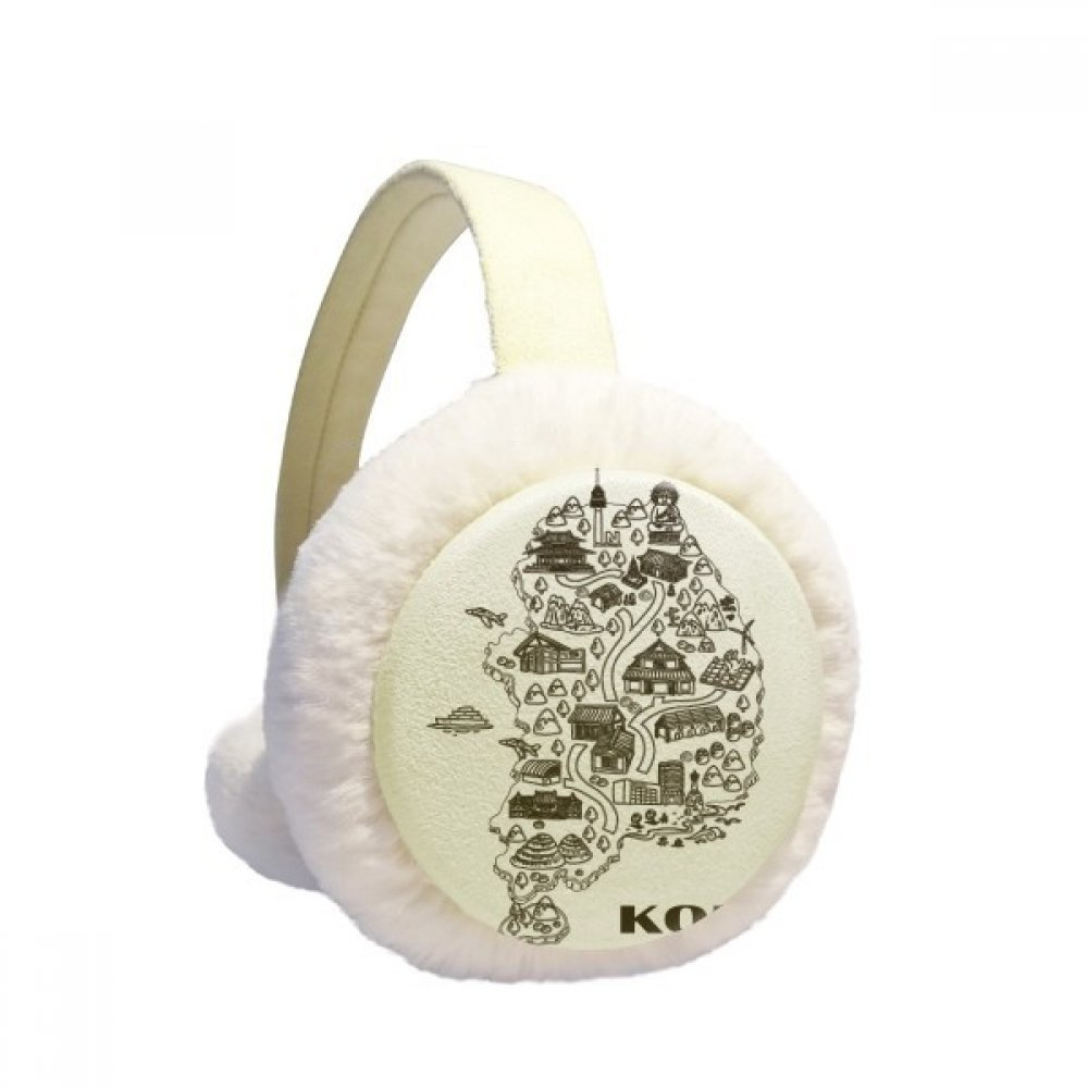 Korean Map Seoul and Busan Winter Earmuffs Ear Warmers Faux Fur Foldable Plush Outdoor Gift