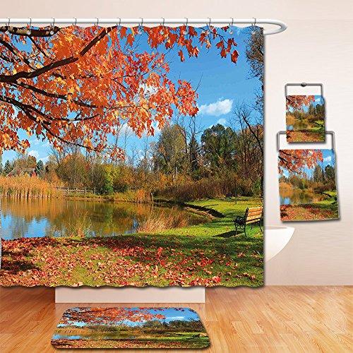 Nalahome Bath Suit: Showercurtain Bathrug Bathtowel Handtowel Landscape Autumn Scenery in Michigan USA Scenic View with Trees Pond and Clear Sky Orange Blue - In Michigan Macys
