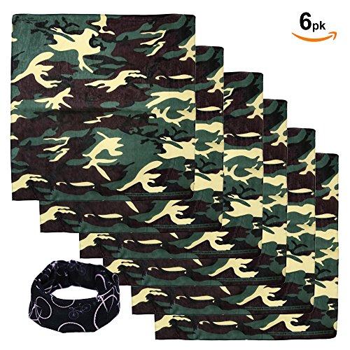 Basico Bandanas Value Pack 100% Cotton Paisley Head Wrap with Tube Face Mask/Headband (6pk- Camouflage)