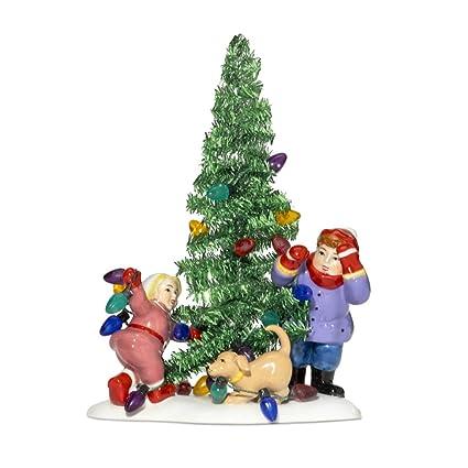 department 56 snow village everyone decorate tinsel tree