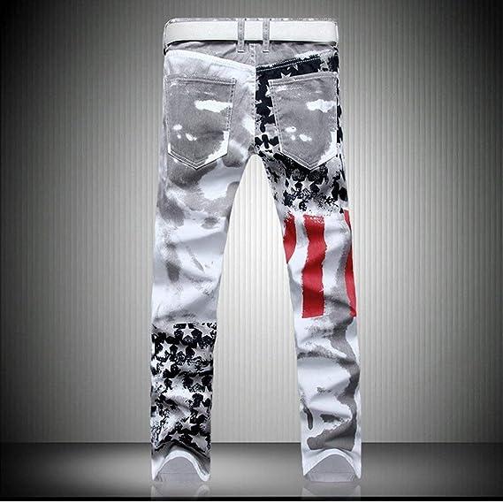 d7598f0f3576 Laisla fashion Jeans Griffato da Uomo Jeans Bandiera USA Flag Look Vintage  Jeans Classiche Denim Jeans Uomo Jeans Strappati con vestibilità Slim  Ragazzi: ...