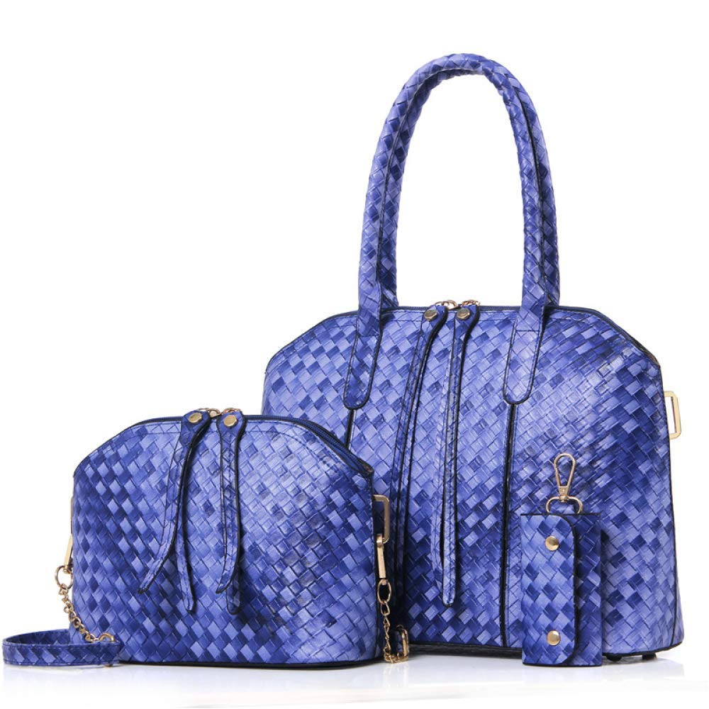 bluee Huasen Evening Bag Women's PU Leather Woven Handbag ThreePiece Sets Shell Bag Fashion Trend New Single Shoulder Messenger Bag Party Handbag (color   Khaki, Size   One Size)