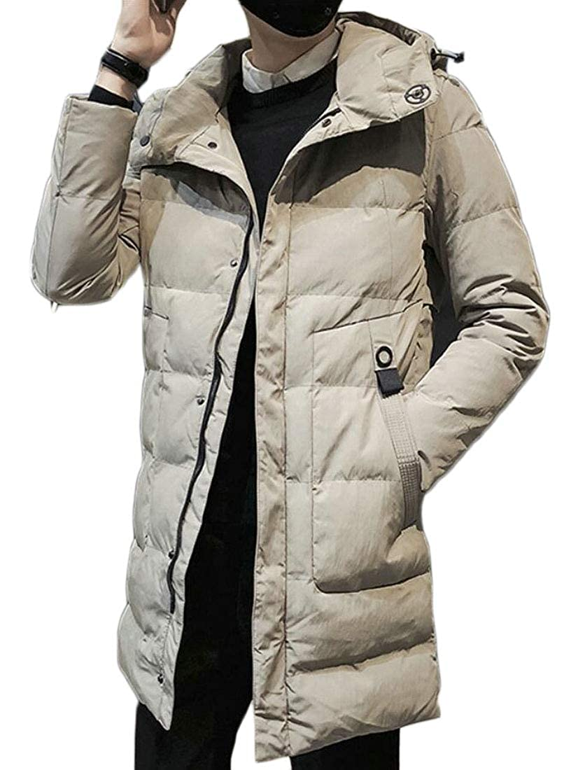 XQS Mens Full Length Down Jacket Hooded Long Outdoor Thick Coat