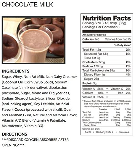 Condensed & Powdered Milk Emergency Powdered Milk & Chocolate Milk Supply -  160 Large Servings Bucket - 14 Lbs - Disaster Insurance Powder Drink Mixes