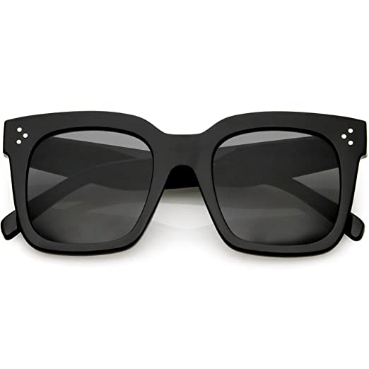 2614f63df5 zeroUV - Bold Flat Lens Oversized Square Frame Horn Rimmed Sunglasses 50mm  (Shiny Black