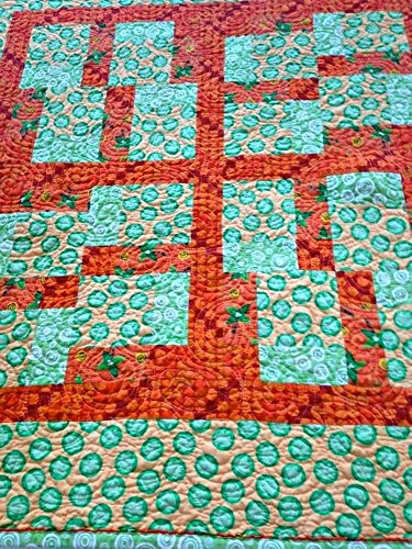 Frog Quilted (Handmade Baby Quilt, Modern Baby Blanket, Toddler Quilt, Crib Quilt, Homemade Baby Quilt for Sale, Unisex, Green, Yellow and Orange, Frogs, Palm Trees)