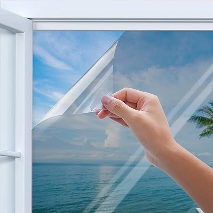 Rhodesy Spiegelfolie Selbstklebend, Homegoo One Way Silber Reflektierende Fensterfolie, UV-Schutz Sonnenschutzfolie Fenster,