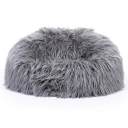 33c2d775dbc5 icon Classic Mongolian Faux Fur Bean Bag Chair - Charcoal Grey