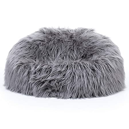77c4afa4c0de icon Classic Mongolian Faux Fur Bean Bag Chair - Charcoal Grey