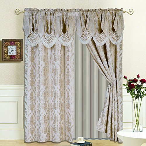 "All American Collection New 4 Piece Drape Set with Attached Valance and Sheer with 2 Tie Backs Included (84"" Length, Beige)"
