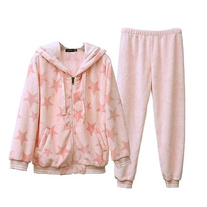 Pijamas Otoño y el Invierno de Franela Sweet Cute Ladies Espeso cálido Traje HUXIUPING (Color