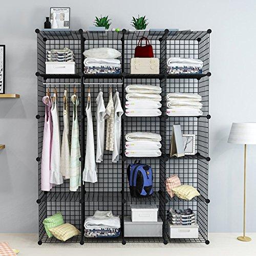 UNICOO - Multi Use DIY 20 Cube Wire Grid Organizer,Wardrobe Organizer, Bookcase, Storage Organizer, Wardrobe Closet - (Black Wire)