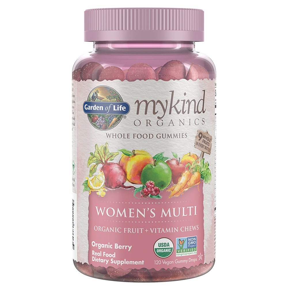 Garden of Life - mykind Organics Women's Gummy Vitamins - Berry - Certified Organic, Non-GMO, Vegan, Kosher Complete Multi - Methyl B12, C & D3 - Gluten, Soy & Dairy Free - 120 Real Fruit Gummies