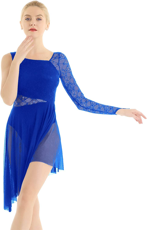 Women Contemporary Lyrical Ballet Skirt Top Dance Costume Lace Asymmetric Outfit