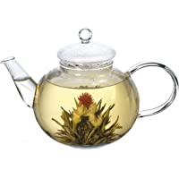 Lifeyz 250ml (8.6oz) One Cup of Tea Clear Small Glass Teapot Stainless Steel Wire Strainer Lid Heat Resistant Tea Pot for Tea