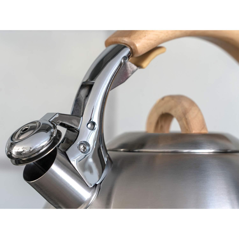 LAGUIOLE Bouilloire Sifflante 3 L Pour tous types de plaques acier inoxydable Manche en Bois gris
