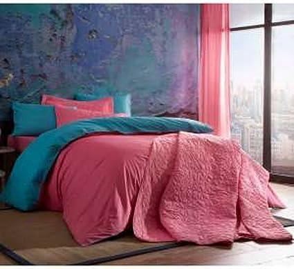 Copripiumino 200 X 220.100 Cotone Lino Colorato Rosa Copripiumino 200 X 220 Cm