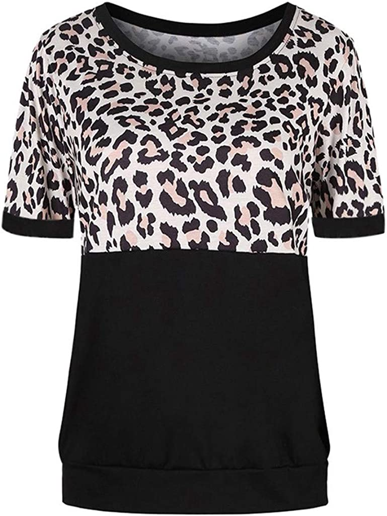 Womens Blouses Leopard Print Tops Colorblock T Shirts Short Sleeve Round Neck Tunics