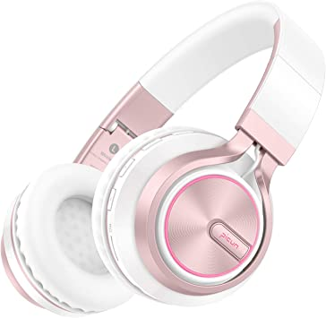 Amazon Com Picun Wireless Headphones 25 Hours Playtime Girls Romantic Led Bluetooth V5 0 Headphones Hifi Bass Foldbale Headset With Hd Mic Soft Earmuff Wired Tf Mode For Kids Women Rose Gold Electronics