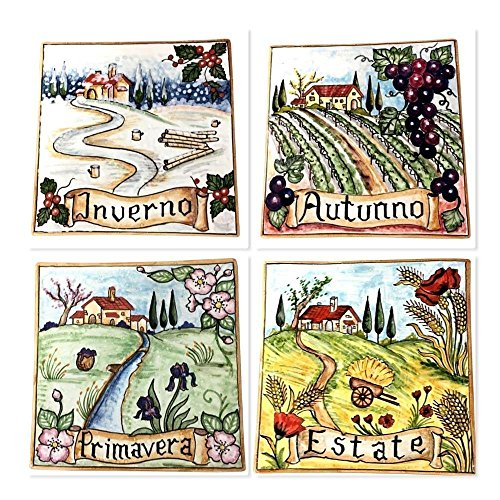 Decorated Tile (CERAMICHE D'ARTE PARRINI - Italian Ceramic Art Pottery Set Tile Decorated Seasons Landscape Hand Painted Made in ITALY Tuscan)