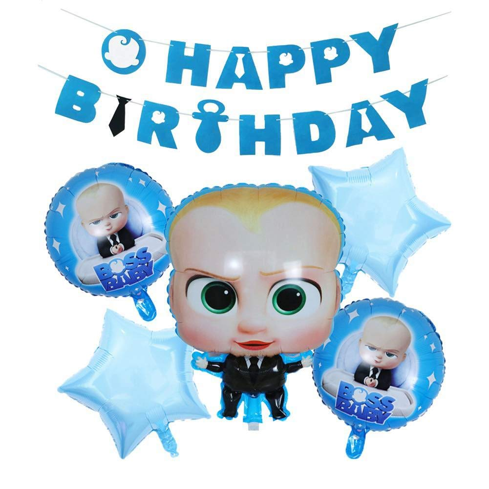 Boss Baby Balloons Party Supplies, Happy birthday Banner For Kids Birthday Party Decorations Party supplies