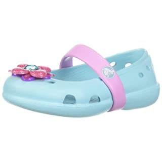 Crocs Girls' Keeley Springtime Flat PS Mary Jane, ice Blue, 12 M US Little Kid