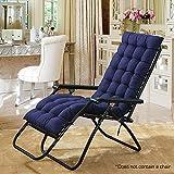 Hootech Chaise Lounge Cushion Patio Chair Pads Outdoor Mattress 60 Inch for Garden Sun Lounger Recliner Indoor Veranda or Deck (Navy Blue) …