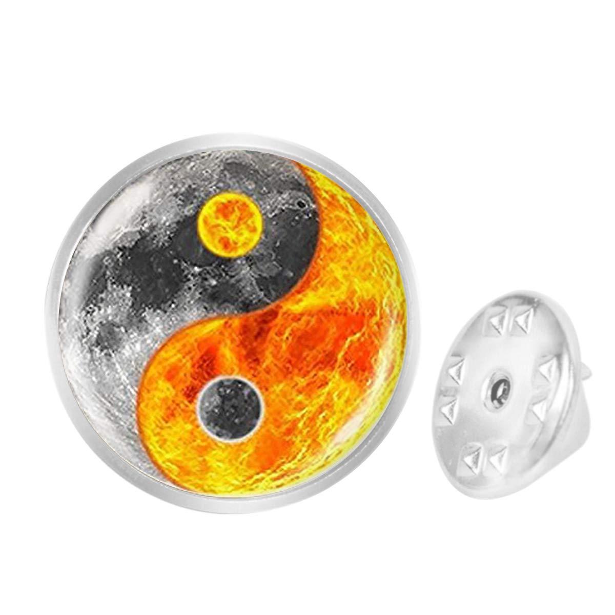 Custom Lapel Pin Brooches Grey Fire Yin Yang Banquet Badge Pins Trendy Accessory Jacket T-Shirt Bag Hat Shoe