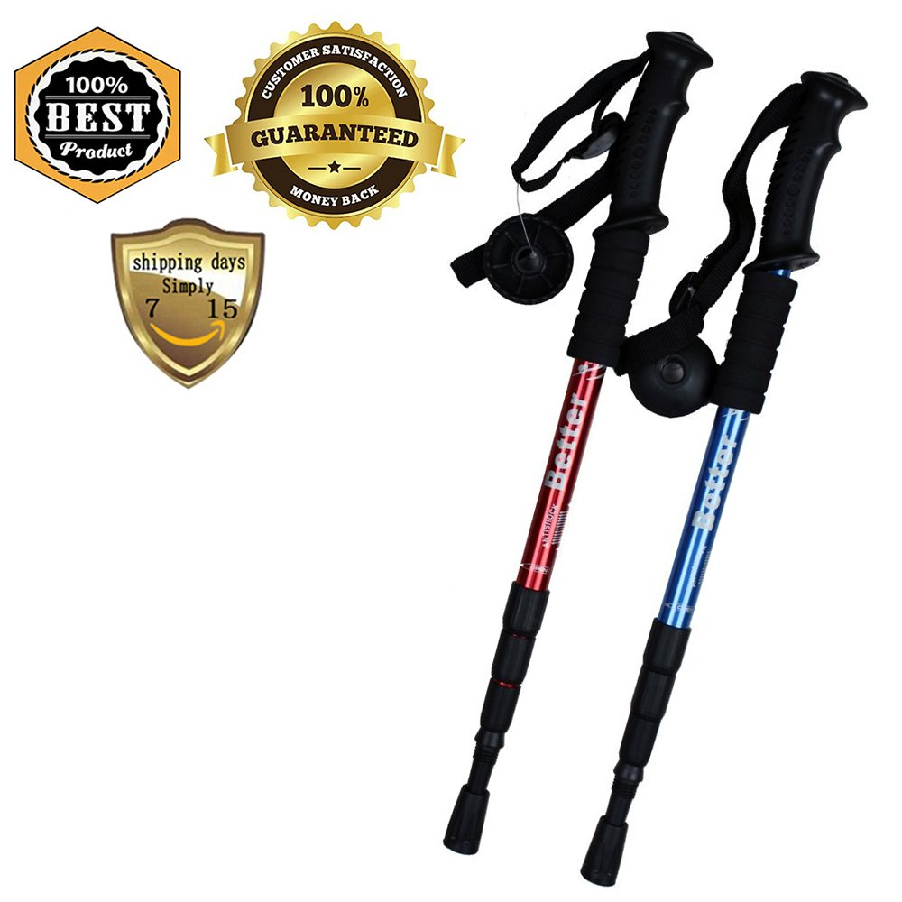 Telescopic Hiking Trekking Sticks Poles With Camera Mount Tips Nonskid Shock-Resistant For Wading Nordic Walking Climbing Boulder Backpacking Tent Aluminum Adjustable from 20''/51cm cm to 43''/110cm by Meanhoo