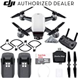DJI Spark Drone Quadcopter - Alpine White with Remote Controller, 2 Batteries, Sandisk Ultra 32GB Memory Card, Card Reader, Prop Guards, Charger, Bundle Starter Kit