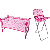Blesiya Kids Children Play House Toy - Simulation Furniture Playset Baby Infant Doll High Chair Dining Chair & Bed