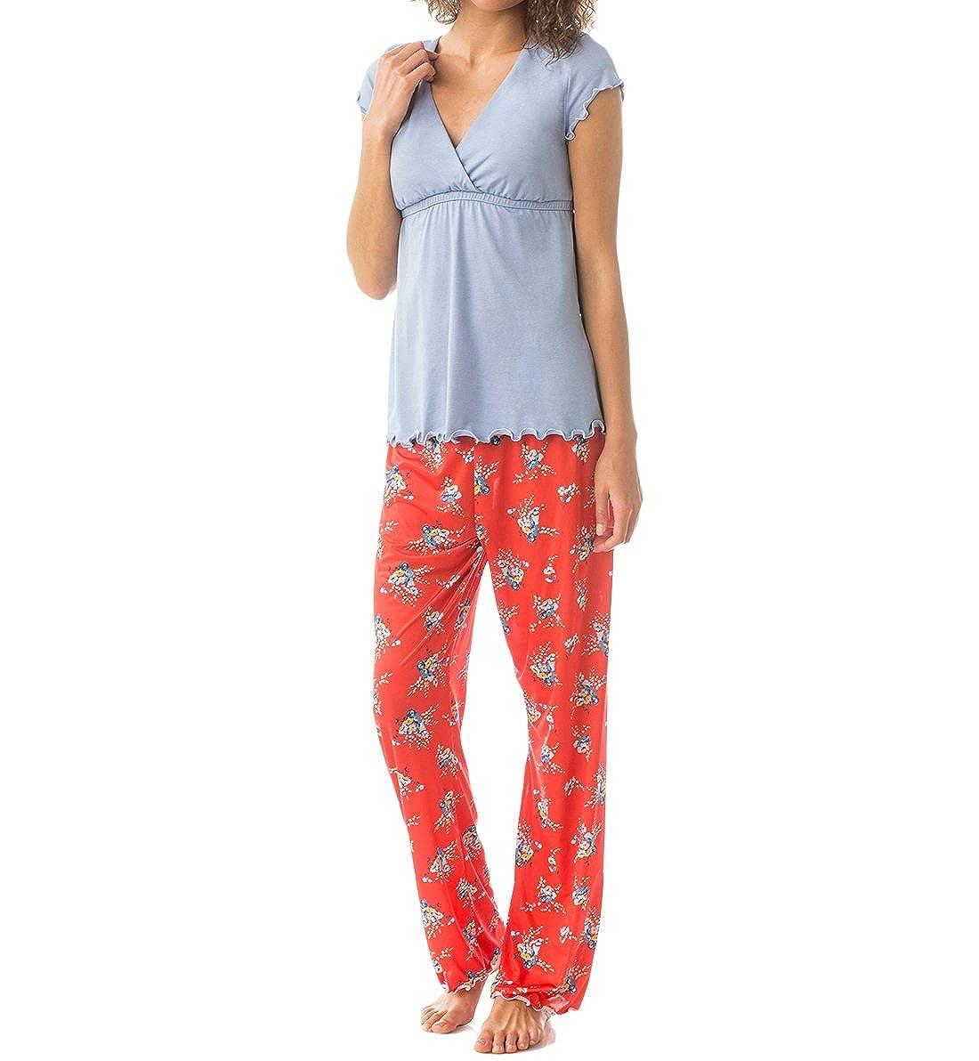 Majamas APPAREL レディース B01B561PQU L|Aura (Light Blue/Red Floral) Aura (Light Blue/Red Floral) L