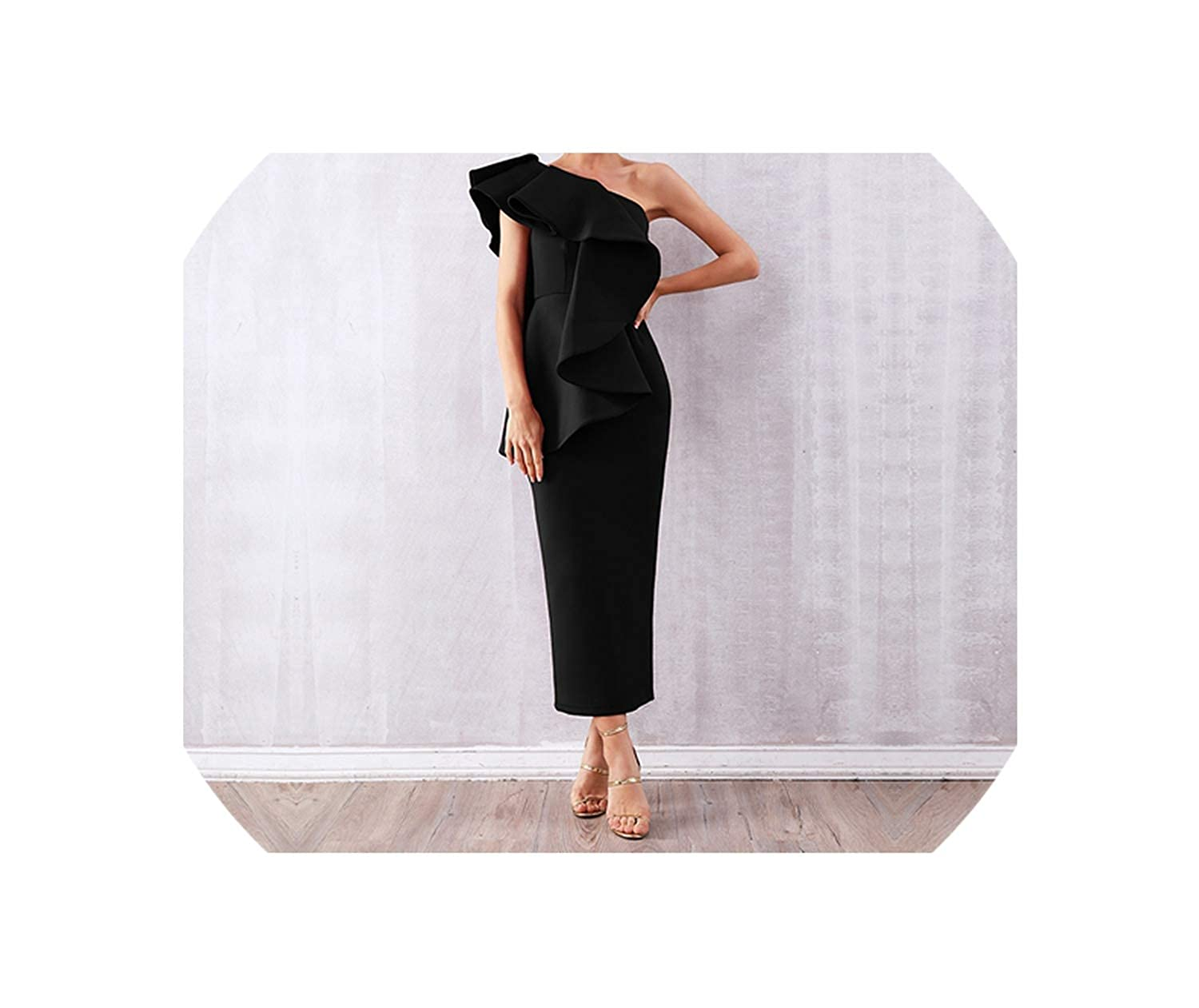 Black Summer Celebrity Party Sexy Sleeveless Ruffles Wine Red One Shoulder Bodycon Club Dress