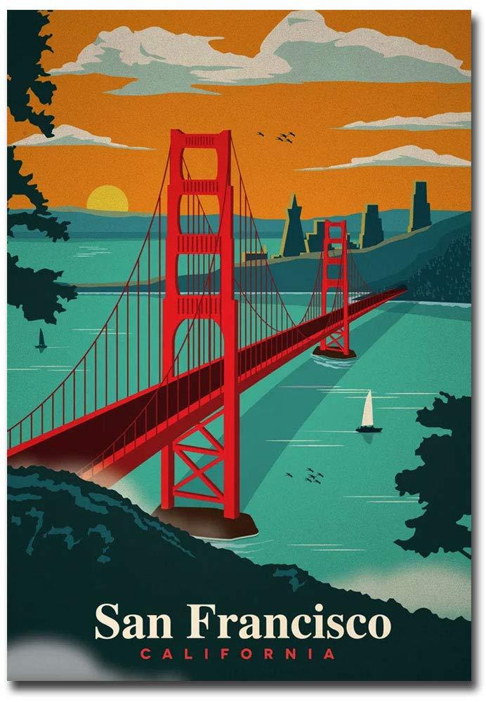 "Golden Gate Bridge San Francisco Vintage Travel Art Refrigerator Magnet Size 2.5"" x 3.5"""