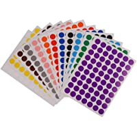 Weforu Dot Stickers, 19mm Sticky Coloured Dots, 12 Colors Round Stickers Dots Circle Color Coding Labels(2520pcs, 36Sheet, 12 Colors, 19mm)